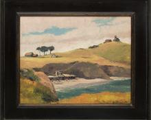 "Jon Blanchette, ""Untitled (Southern California Coast)"", oil, c. 1955, painting, for sale purchase consign auction denver Colorado art gallery museum"
