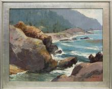 "Jon Blanchette, ""Point Lobos (Carmel, California)"", oil, circa  1955, painting, for sale purchase consign auction denver Colorado art gallery museum"