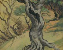 "Jenne Magafan, ""Old Tree"", gouache on paper, c. 1942"