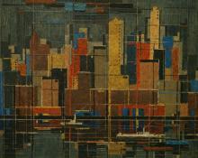 "Charles Ragland Bunnell, ""New York Skyline"", oil, 1948 painting for sale"