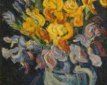 "sandzén, Sven Birger Sandzen, ""Untitled (Irises)"", oil on canvas, c. 1920"