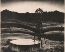 "Peter Hurd, ""Water Tank"", lithograph, c. 1936"