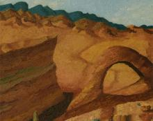 "Indiscernible Artists name/not signed, ""Untitled (Western Landscape)"", oil on canvas, c. 1930"
