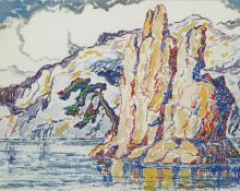 "sandzén, Sven Birger Sandzen, ""Untitled (Mountain Lake)"", watercolor on paper, c. 1928"