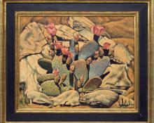 Frank Gavencky Flowering Cactus desert oil nting fine art for sale purchase buy sell auction consign denver colorado art gallery museum