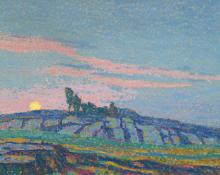 "Sven Birger Sandzen, ""Untitled (Sunset)"", oil on canvas, c. 1910"