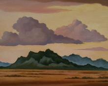 """William Sanderson, """"Landscape with Hills"""", oil on canvas, 1974"""