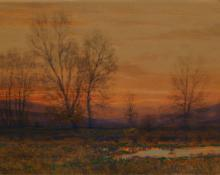 "Charles Partridge Adams, ""Autumn Evening Near Denver"", watercolor, c. 1910 painting for sale"