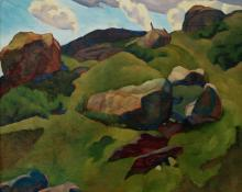 "Ross Eugene Braught, ""Untitled (Hills and Rocks)"", oil on canvas, c. 1935 painting for sale"