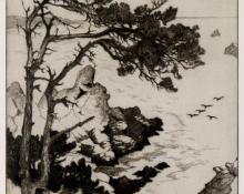 "Alice (Gene) Geneva Glasier Kloss, ""Pines and Pelicans, edition of 75"", etching, 1938"