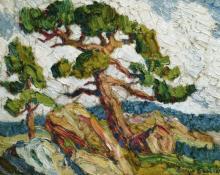 """Sven Birger Sandzen, """"In the Mountains, Motif from Estes Park, Colorado"""", oil, c. 1925"""