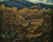 "Alfred G. Morang, ""Untitled (Mountains, New Mexico)"", oil, c. 1940"