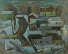 """Paul Kauvar Smith, """"Denver, Colorado"""", oil, c. 1955"""