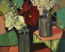 "Paul Kauvar Smith, ""Hollyhocks and Wildflowers (Two Bouquets)"", oil, c. 1955"