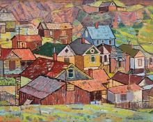 "Paul Kauvar Smith, ""Untitled (Colorado Mountain Town)"", oil, c. 1945"