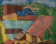 "Paul Kauvar Smith, ""Untitled (Rooftops, Colorado)"", oil, c. 1945"