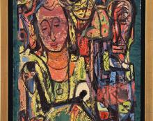 """Paul Kauvar Smith, """"Untitled (Abstract with Figure)"""", oil, c. 1955 for sale purchase consign auction denver Colorado art gallery museum"""