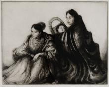 "Gene (Alice Geneva) Kloss, ""Apache Women at the Fiesta, edition of 75"", etching, 1954"
