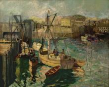 "Richard Hayley Lever, ""Gloucester Harbor"", oil on canvas, c. 1920"