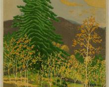 """Gustave Baumann, """"Aspen Money; 41/125"""", woodcut, 1946"""