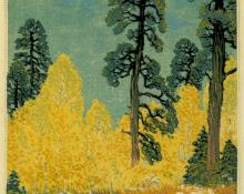 "Gustave Baumann, ""Pine and Aspen; 84/125"", woodcut, 1946 painting for sale"