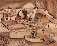 "Howard Behling Schleeter, ""Village"", mixed media, 1947"