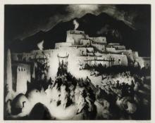 "Gene (Alice Geneva) Kloss, ""Christmas Eve - Taos Pueblo; Edition of 75"", etching, 1946"