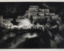 """Gene (Alice Geneva) Kloss, """"Pueblo Firelight Dance, 30/50"""", etching, 1952"""