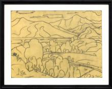 Charles Bunnell vintage drawing for sale, Colorado Springs, pikes peak, Landscape with Mountains, Colorado, graphite, circa 1930, wpa era, modernist, modernism