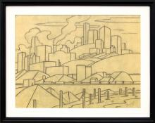 Charles Ragland Bunnell art for sale, Industrial Area with Train, Kansas City, graphite line drawing study sketch, downtown, skyscraper, circa 1935