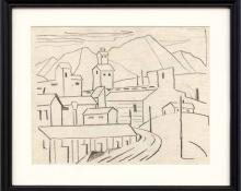 """Charles Bunnell art for sale, """"Untitled (Mine in the Mountains, Colorado)"""", conte crayon, circa 1935."""
