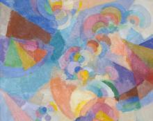 "Stanton MacDonald-Wright, ""Koan"", oil, c. 1969"