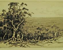 "George Elbert Burr, ""Road to Rome from Tivoli"", etching, c. 1905"