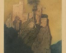 "George Elbert Burr, ""Rheinstein Castle (on the Rhine), No. 35"", etching, c. 1905"