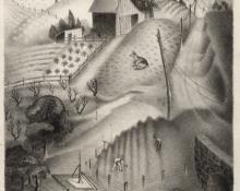 """Archie Musick, """"Kansas Pastoral"""", lithograph, 1938"""