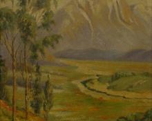 "Kate Elizabeth Johnson Thew, ""California"", oil, c. 1925"