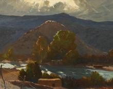 "Fremont Ellis, ""Untitled (Adobes, New Mexico)"", oil, c. 1935"