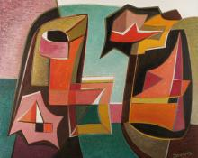 "Werner Drewes, ""Separation of Related Forms - The Gorge"", oil, 1951"