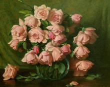 "Joseph Henry Sharp, ""Belle and Portugal Roses"", oil on canvas, c. 1935"