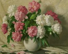 "Joseph Henry Sharp, ""Peonies"", oil on canvas, 1937"