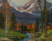 "Raphael Lillywhite, ""Untitled (Mountain Stream)"", oil, c. 1930"