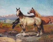 """Raphael Lillywhite, """"Untitled (Horses)"""", oil on canvas, c. 1930"""
