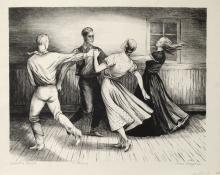 "Jenne Magafan, ""Country Dance (edition of 15 prints)"", lithograph, 1942"
