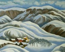 "William Sanderson, ""Mountain Town"", oil, c. 1980"