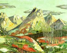 "Mary Cameron Lawrence, ""Untitled (Rocky Mountains)"", oil, c. 1945"