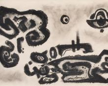 "Emil James Bisttram, ""Untitled"", charcoal, c. 1950"