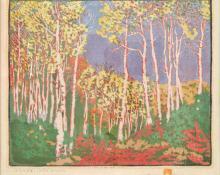 "Gustave Baumann, ""Aspen Red River; 54/100"", woodcut, 1925"