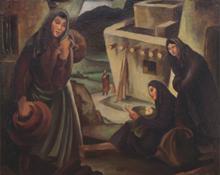 """Philip Latimer Dike, """"Women of the Pueblo"""", oil, c. 1935"""