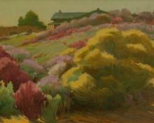 """Joseph Henry Sharp, """"Rabbit Brush"""", oil on canvas, 1926"""