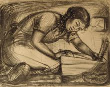 """Mary Alice Cox (Mac) Schweitzer, """"Untitled"""", lithograph, 1954"""